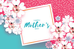 Pink Blue Happy Mothers Day. Brilliant stones. Paper cut flower. Square Rhombus frame. Royalty Free Stock Photo