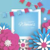 Pink Blue Happy Women`s Mother`s Day. 8 March. Floral Greeting Card. Paper cut Flowers. Origami flower. Flags.Square. Frame. Text. Spring blossom. Seasonal Stock Photos