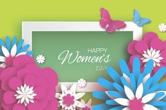 Pink Blue Happy Women`s Mother`s Day. 8 March. Floral. Greeting Card. Paper cut Flowers, Butterfly. Origami flower. Rectangle frame. Text. Spring blossom Royalty Free Stock Photos