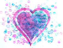 Pink and blue heart with paint splashes watercolor painting Stock Photos