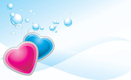 Pink and blue hearts on the abstract background. Banner. Illustration Stock Images
