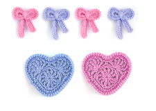 Pink and blue hearts and bows Royalty Free Stock Images
