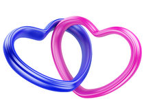 Pink and blue hearts shape Stock Image