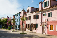 Pink and Blue Homes in Burano Royalty Free Stock Photo