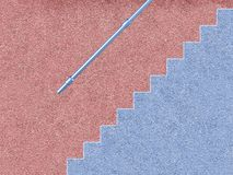 Pink and blue house with stairs. And hand rail Stock Photos