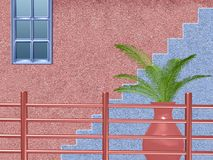 Pink and blue house with stairs, pot plant and fence stock illustration