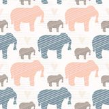 Pink and Blue Kids Elephants Silhouette Seamless royalty free illustration
