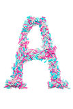 Pink and blue letter A  pieces of colored paper Royalty Free Stock Photo