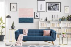 Pink and blue living room stock image