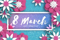 Pink Blue 8 March. Happy Women`s Day. Mother`s Day. Paper cut Floral Greeting card. Origami flower. Text. Rectangle. Frame. Spring blossom. Seasonal holiday on vector illustration