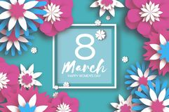 Pink Blue 8 March. Happy Women`s Mother`s Day. Floral Greeting Card. Paper cut Flowers. Origami flower. Square frame Royalty Free Stock Images