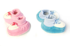 Pink and blue newborn shoes Royalty Free Stock Photo