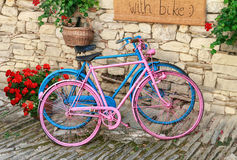 Pink and blue old bicycles Royalty Free Stock Images