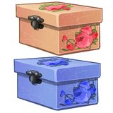Pink and blue old cardboard box with flower decoration. Womens carton casket with lock isolated. Vector in cartoon style royalty free illustration