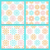 Pink, blue and orange flowers on white background Stock Photo