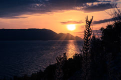 Pink blue orange sunset at mountain landscape Royalty Free Stock Photo