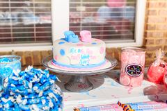 Pink and Blue, Outdoor Gender Reveal Party Decorations royalty free stock image