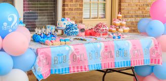 Pink and Blue, Outdoor Gender Reveal Party Decorations stock photos