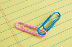 Pink and Blue Paper Clips. Pink (female) and blue (male) paper clips connected on a legal pad of paper Stock Image