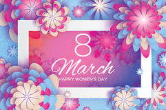 Pink Blue Paper Cut Flower. 8 March. Origami Women`s Day. Rectangle Frame. Space for text Stock Photos