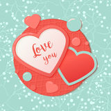 Pink and blue paper hearts with patternred circle, drops. Valentines Day Greeting Banner  on white background. Stock Photo