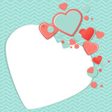 Pink and blue paper hearts for scrapbooking design, scrap book template. Valentines Day Scrap Card or scrap postcard. Romantic Lovely Frame design template for stock illustration