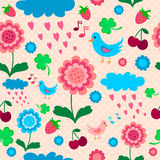 Pink blue pattern with birds, flowers and berries. vector illustration
