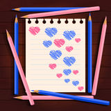 Pink and blue pencils, hearts. Light pink and blue pencils on paper painted hearts Royalty Free Stock Photo