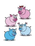 Pink and blue piggy Royalty Free Stock Images