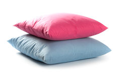 Pink and blue pillows Royalty Free Stock Images