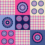Pink blue plaid flower. Pink and blue retro flower and plaid pattern stock illustration