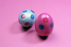 Pink and blue polka dot Easter eggs Royalty Free Stock Image