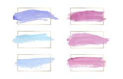 Pink, blue and purple colors brush stroke watercolor texture wirh gold lines frames. Geometric shape with watercolor washes. Trend vector illustration