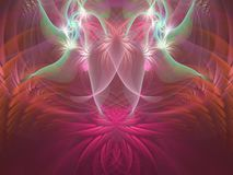 Pink, blue, purple and orange lotus with angels flame fractal royalty free illustration