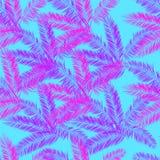 Pink, blue and purple palm vector seamless pattern. Hawaiian palm pattern. Royalty Free Stock Image