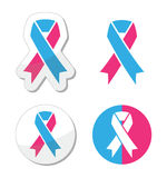 Pink and blue ribbon - pregnancy and infant loss awereness symbol Stock Photos