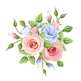 Pink and blue roses and lisianthus flowers. Vector illustration. Vector pink and blue roses and lisianthus flowers on a white background stock illustration
