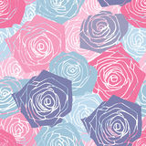 Pink and blue roses pattern Royalty Free Stock Image