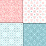 Pink and blue seamless patterns set Royalty Free Stock Images