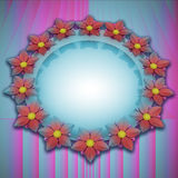 Pink blue shaded blossom elliptical card motive Stock Photo
