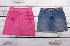 Pink and blue skirts for teenagers. Royalty Free Stock Photography