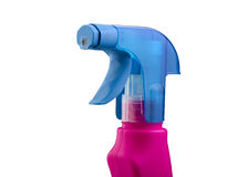 Pink and blue spray bottle Stock Photo