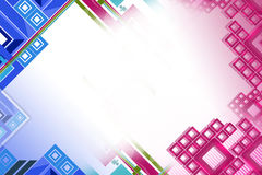 Pink and blue square line right side, abstract background Stock Photography