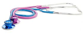 Pink and blue stethoscopes Royalty Free Stock Image
