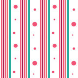 Pink and blue stripes with pink circles seamless pattern background illustration Stock Image