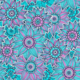 Pink and blue sunflower pattern royalty free illustration
