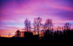 Pink and blue sunset landscape Stock Photo