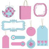 Pink and blue tags Stock Photo