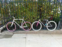 Pair of colorful bicycles parked locked to the fence stock photo