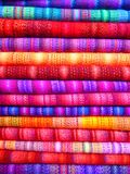 Pink and Blue Textile Near Yellow Textile Royalty Free Stock Photography